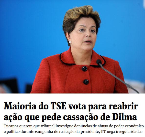 Presidente Dilma; abaixo, manchete da Folha de S. Paulo online