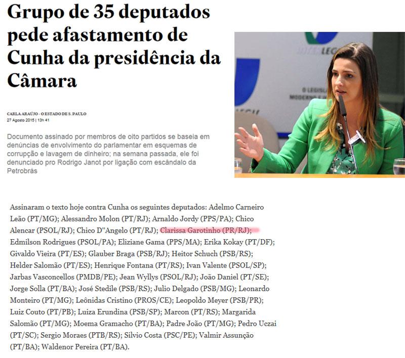 Reprodução do Estadão online; ao lado Clarissa Garotinho