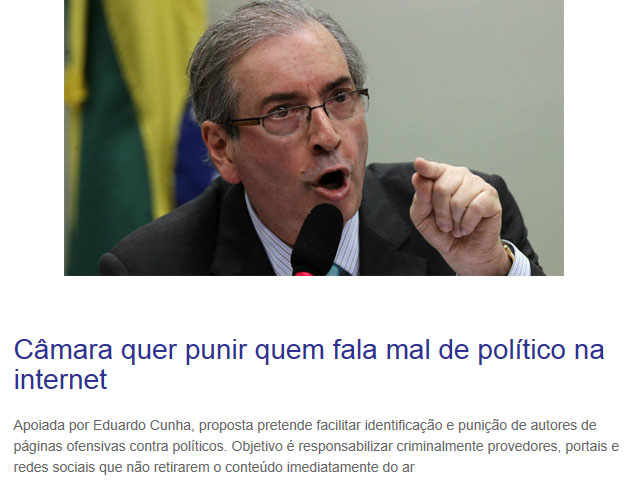 Eduardo Cunha; manchete do Congresso em Foco