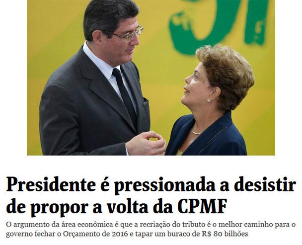 Joaquim Levy conversa com a Presidente Dilma no Palácio do Planalto; abaixo, manchete da Folha de S. Paulo online