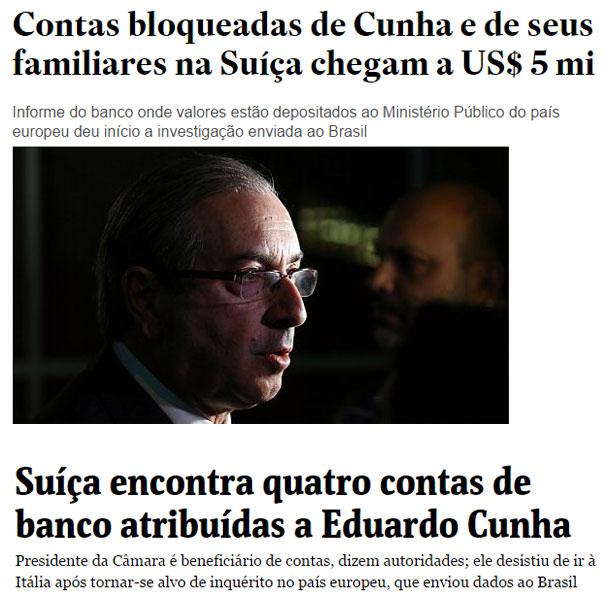 Reproduções do Estadão online e da Folha de S. Paulo online