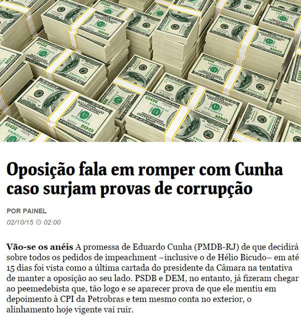 Dólares; abaixo, reprodução da Folha de S. Paulo online