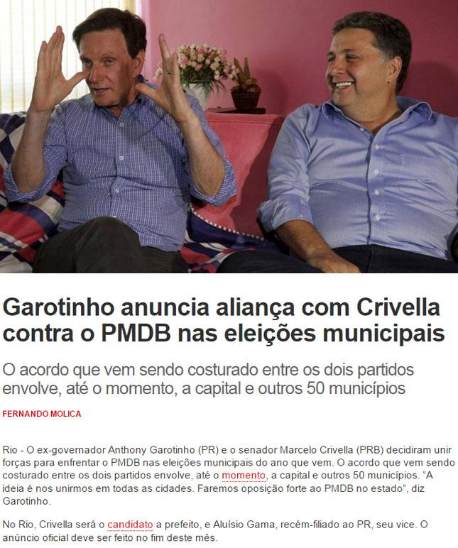 Garotinho e Crivella no 2º turno da eleição estadual; abaixo, reprodução do Informe do Dia