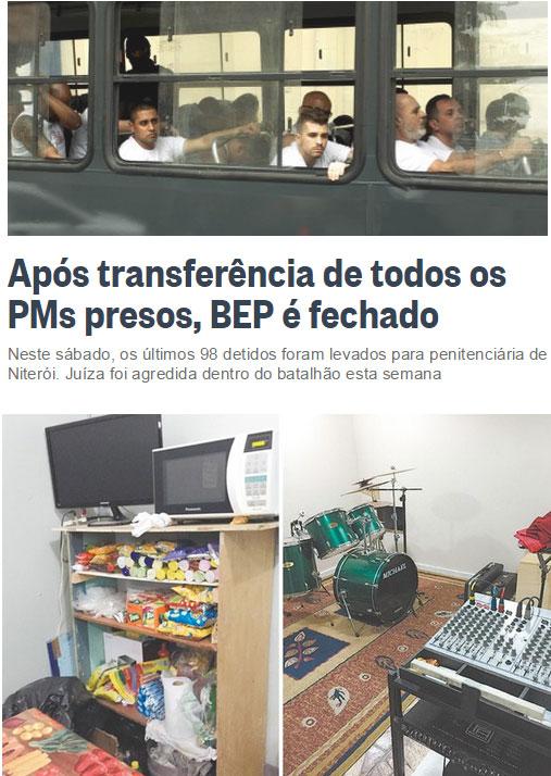 Reprodução do Globo online; abaixo, celas do BEP até com estúdio musical com bateria
