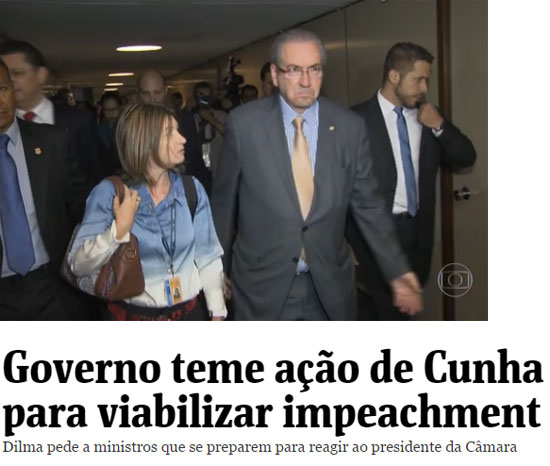 Eduardo Cunha, na quinta-feira, com cara de poucos amigos; abaixo, manchete da Folha de S. Paulo