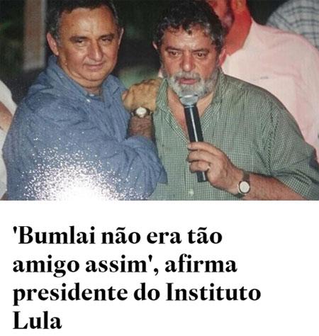 Lula e José Carlos Bumlai, amigos de muitos anos; abaixo, manchete do Estadão online