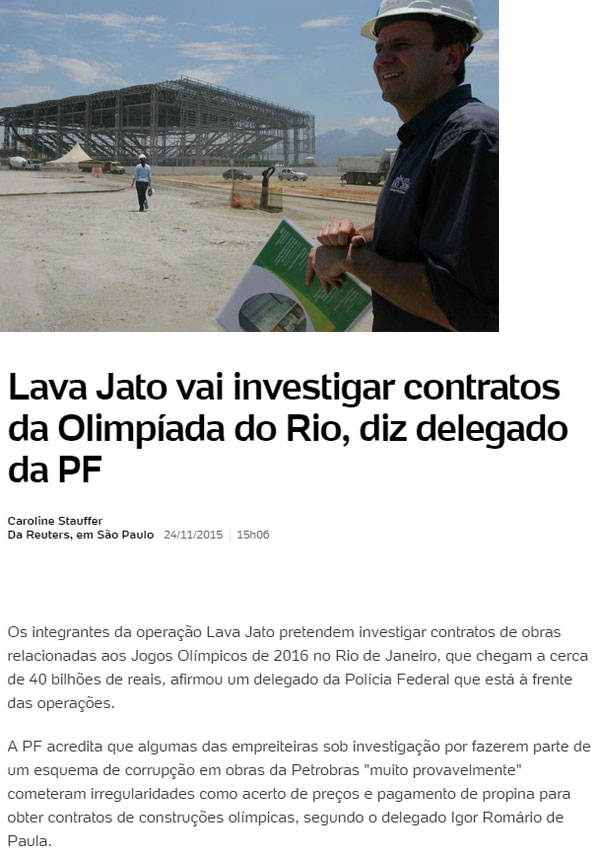 Eduardo Paes visitando obras do Parque Olímpico: abaixo, reprodução do UOL