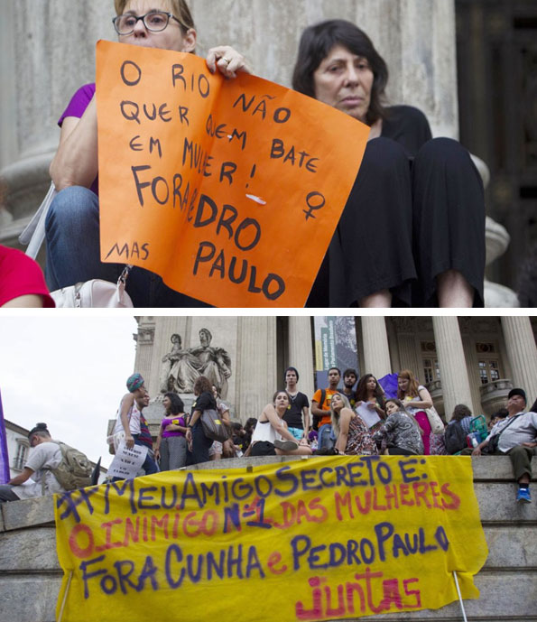 Protesto de ontem (25/11), nas escadarias da ALERJ