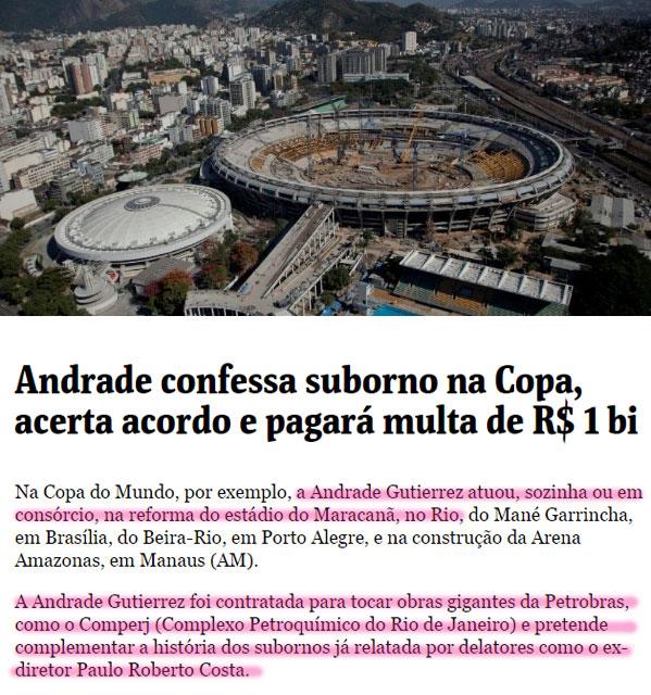 Obra de reforma do Maracanã; abaixo, reprodução da Folha de S. Paulo