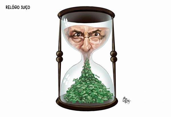 O tempo está se esgotando para Eduardo Cunha (Charge de Aroeira, do jornal O Dia)