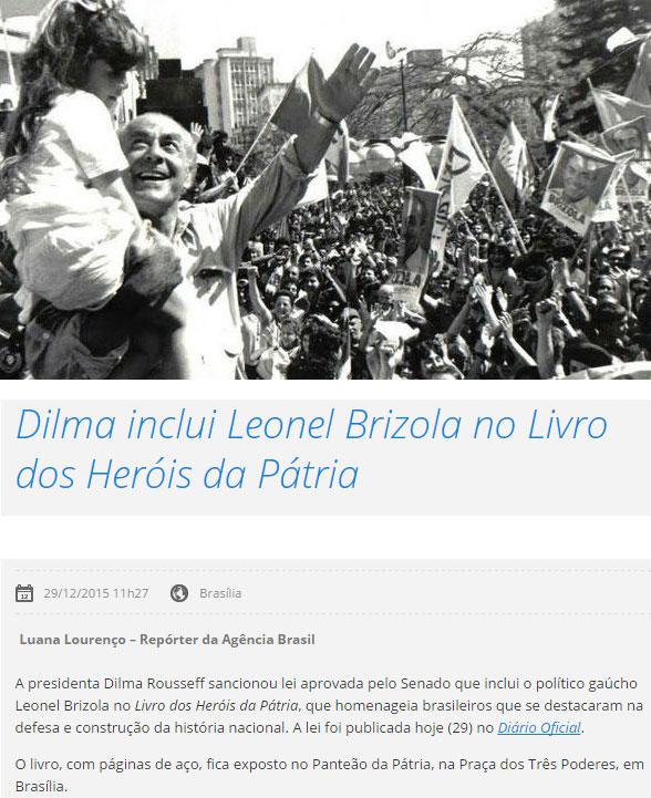 Leonel Brizola: abaixo, reprodução do site da EBC
