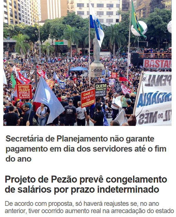 Protesto de servidores estaduais na ALERJ; abaixo manchetes do Extra online e de O Dia online