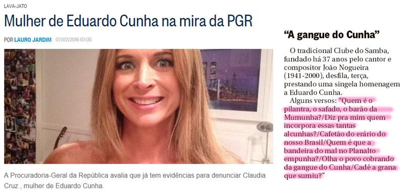 Reproduções das colunas de Lauro Jardim e Ancelmo Gois