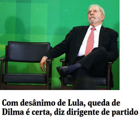 Lula na posse como ministro; abaixo manchete da Folha de S.Paulo