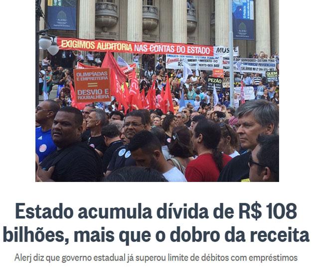 Servidores protestam contra Pezão nas escadarias da ALERJ; abaixo manchete do Globo online
