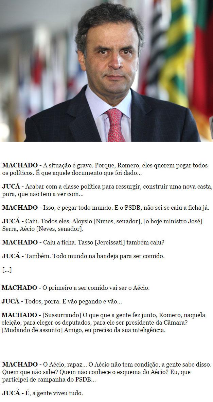 Aécio Neves: abaixo transcrição de conversa entre Sérgio Machado e Romero Jucá