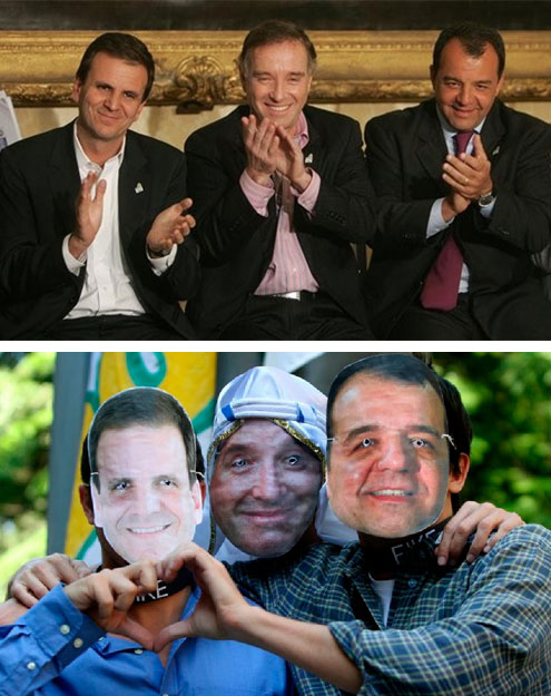 Eduardo Paes, Eike Batista e Sérgio Cabral em evento público e na visão de manifestantes em protesto contra Cabral (2013)