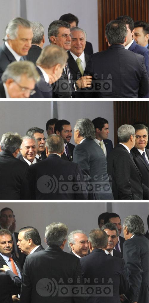 Romero Jucá sempre ao lado de Michel Temer recepciona líderes partidários no Palácio do Planalto