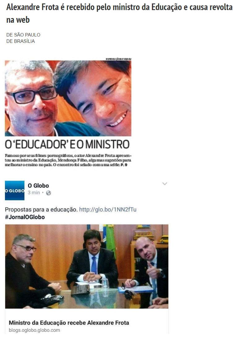 Reproduções da Folha de S.Paulo, O Globo e O Dia