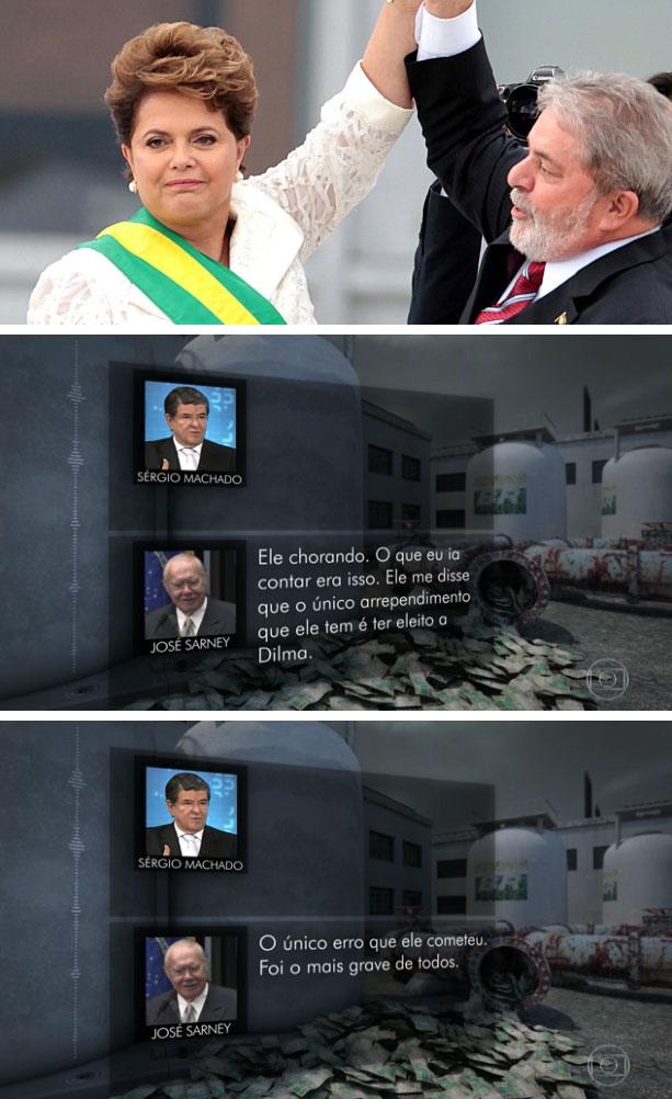 Lula na posse de Dilma; abaixo reprodução do Jornal Nacional