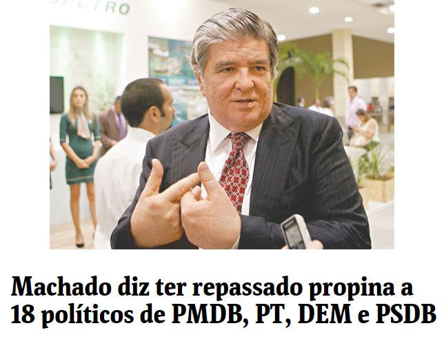 Ex-presidente da Transpetro, Sérgio Machado; abaixo manchete da Folha de S.Paulo online