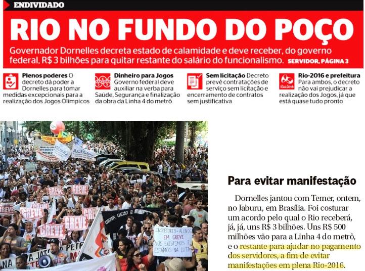 Manchete da capa do Extra: abaixo manifestação de servidores e reprodução da coluna de Ancelmo Gois, do Globo