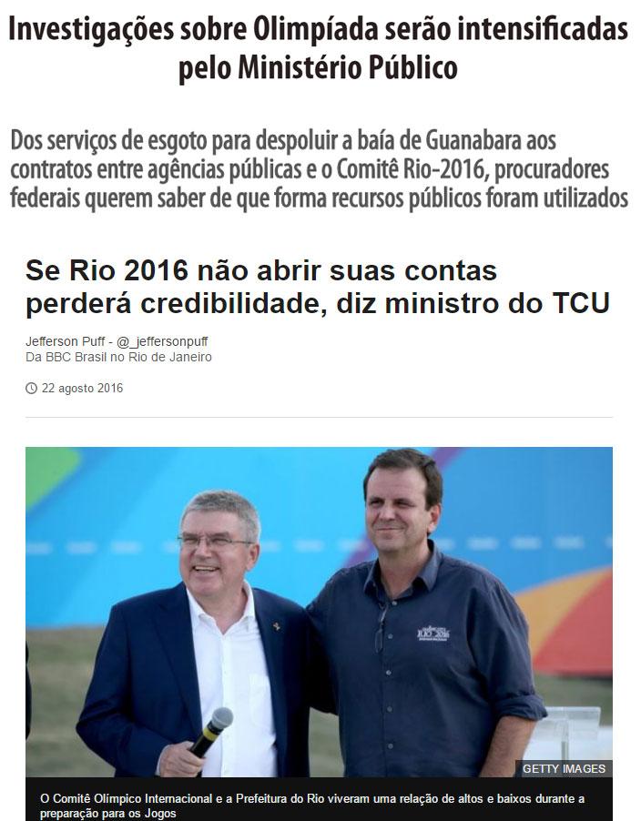 Reproduções de O Dia e da BBC Brasil
