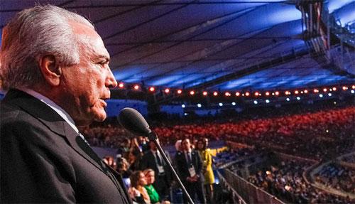 Michel Temer na cerimônia de abertura da Olimpíada