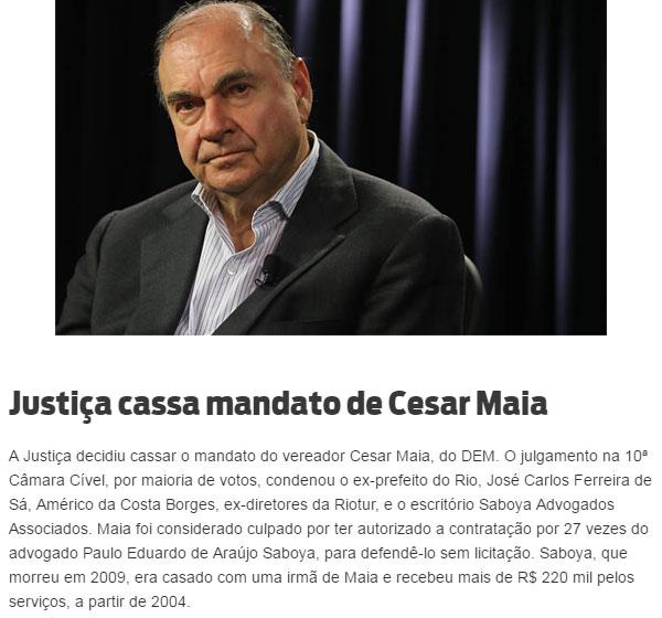 Cesar Maia; abaixo reprodução de O Dia online
