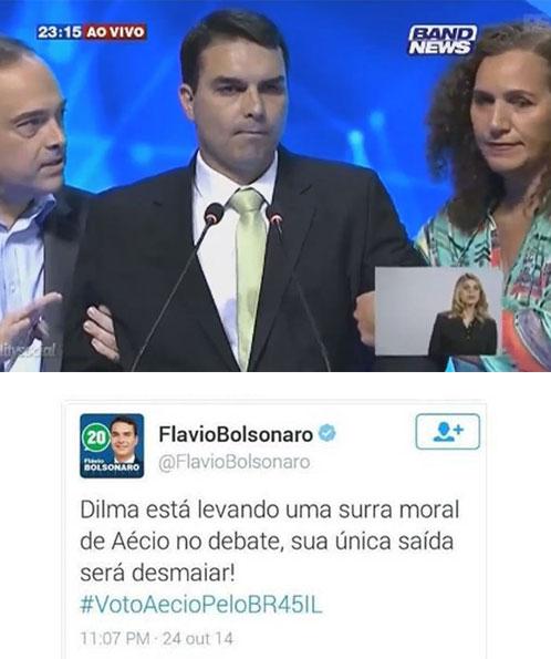Flávio Bolsonaro é amparado por Carlos Osório (PSDB) e Jandira Feghali (PCdoB) durante o debate da Band Rio
