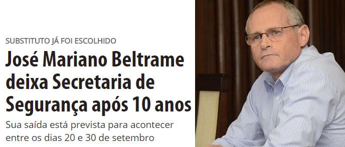 Manchete de O Dia online; ao lado Beltrame