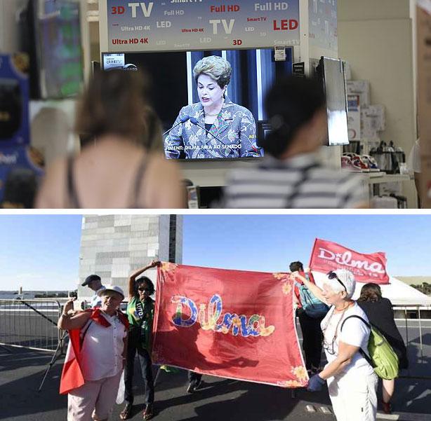 Populares assistem defesa de Dilma em televisões no comércio; abaixo manifestantes contra o impeachment próximo ao Congresso