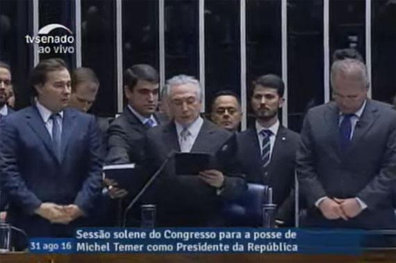 Temer presta juramento constitucional no Senado (Imagem da TV Senado)