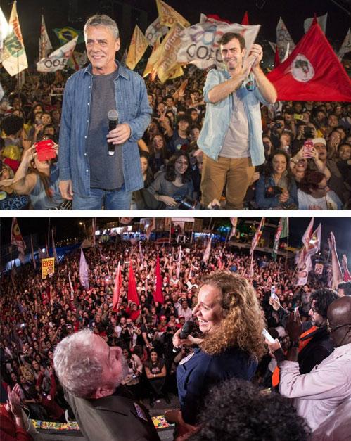 Chico Buarque com Marcelo Freixo; Lula com Jandira Feghali