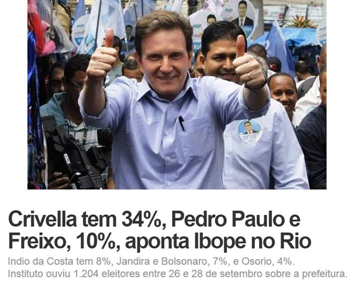 Marcelo Crivella; abaixo manchete do G1