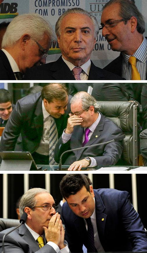 Eduardo Cunha conversando com Moreira Franco, atrás de Michel Temer; cochichando com Rodrigo Maia, e com Leonardo Picciani