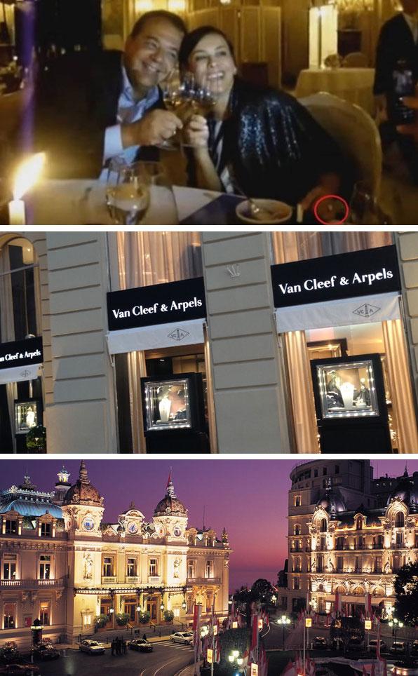 No detalhe da imagem (do vídeo divulgado pelo nosso blog), o anel de R$ 800 mil; abaixo a fachada da joalheria e a Place du Casino, em Montecarlo (Mônaco)