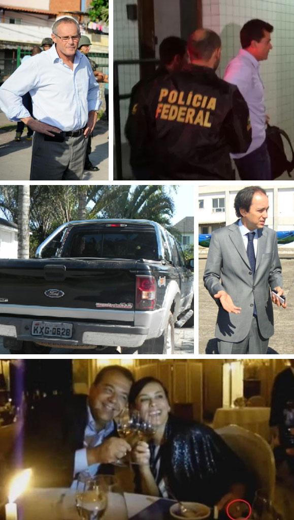 Beltrame; Cavendish preso pela Polícia Federal; o carro que Cavendish deu a Cabral, mas ficou no nome de Paulo Magalhães Pinto (ao lado); Cabral e Adriana Ancelmo com o anel de R$ 800 mil