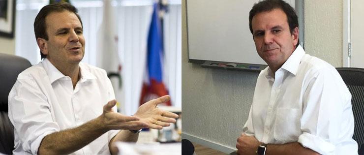 Eduardo Paes em dois momentos, antes e depois da derrota de Pedro Paulo