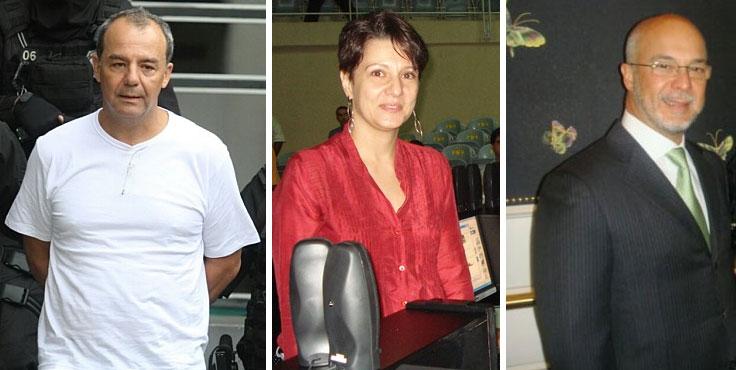 Sérgio Cabral sendo levado para Curitiba; Teresa Porto, sua ex-secretária de Educação; e o Rei Arthur, do grupo Facility, hoje PROL