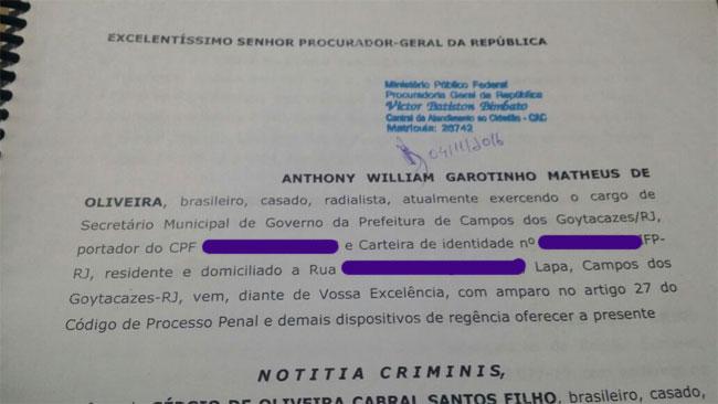 Protocolo de recebimento pela PGR da notícia-crime apresentada por Garotinho