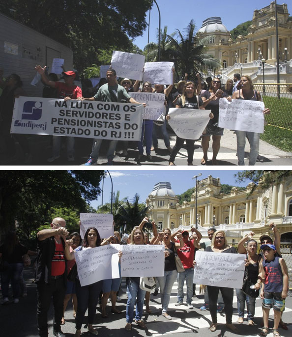 Aposentados e pensionistas protestam em frente ao Palácio Guanabara