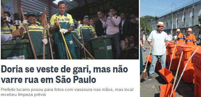 Reprodução do Globo online; ao lado Eduardo Paes fingindo ser gari na Lapa