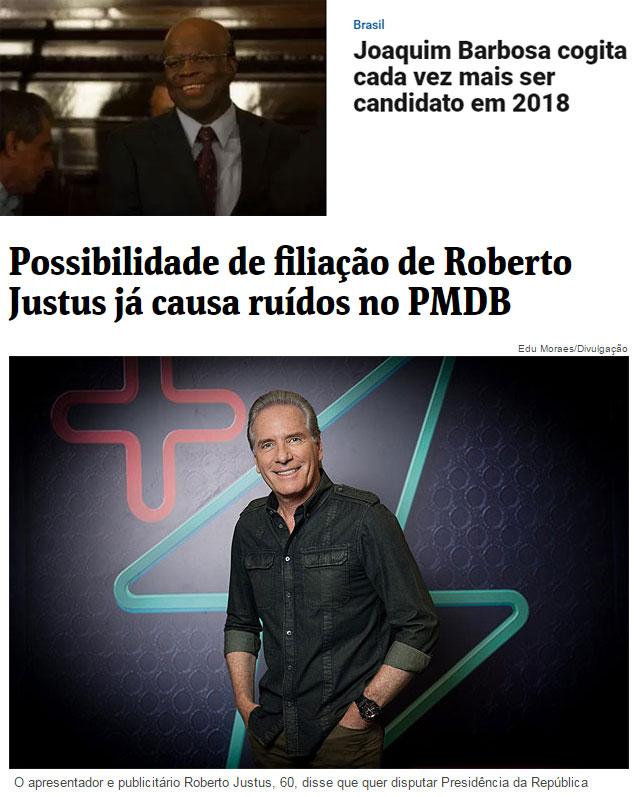 Reproduções da Veja online e da Folha de S. Paulo online