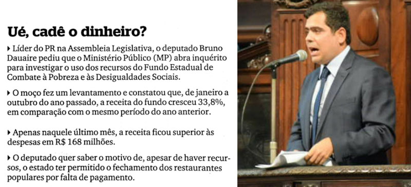 Nota da coluna Extra, Extra!; ao lado deputado Bruno Dauaire