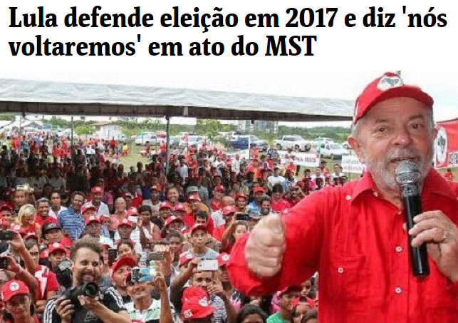 Manchete da Folha de S. Paulo; foto do Brasil 247