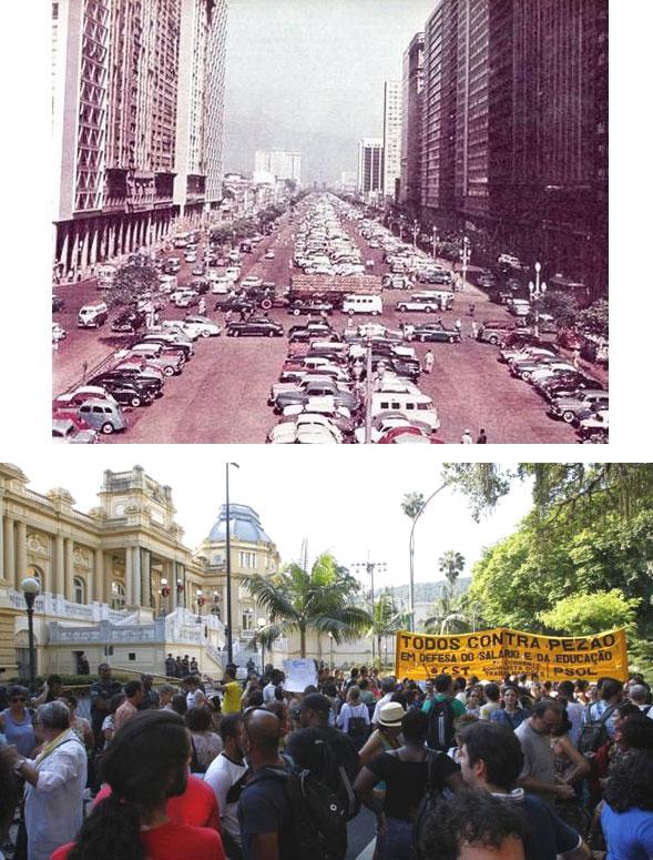 Avenida Presidente Vargas nos anos 1960, quando o Rio deixou de ser capital; abaixo servidores estaduais protestando na frente do Palácio Guanabara