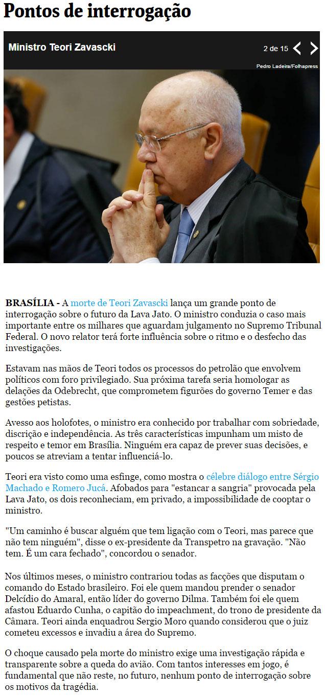Artigo de Bernardo Mello Franco, da Folha de S. Paulo
