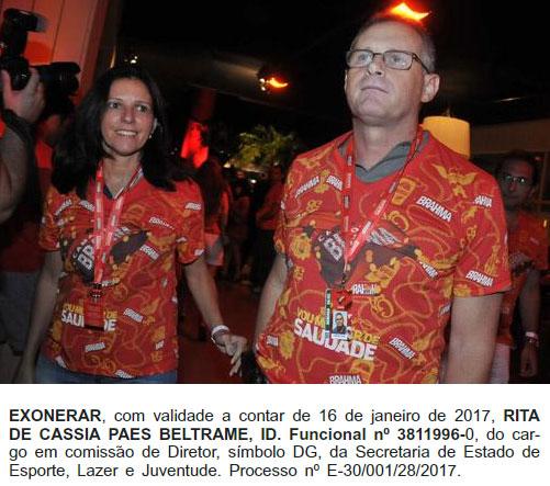 Rita Beltrame com o ex-secretário Beltrame no camarote da Brahma onde não perdiam um carnaval; abaixo reprodução do Diário Oficial de hoje