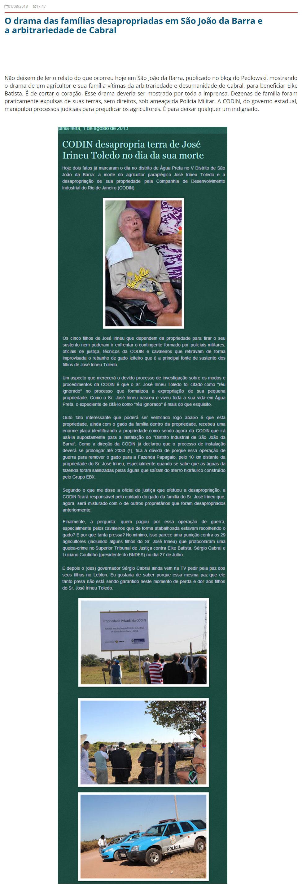 Reprodução do Blog do Garotinho (2013) com matéria do Blog do Pedlowski<br />